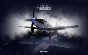 Картинка небо, облака, истребитель, Арт, американский, War Thunder, hibikirus, ВВС Америки, P-51H