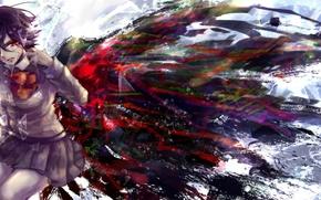 Картинка кровь, крылья, аниме, слезы, арт, форма, школьница, tokyo ghoul, rine mikoto, kirishima touka. девушка