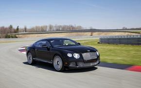 Картинка Авто, Bentley, Continental, Дорога, Черный, Le Mans, Машина, День, Купэ, В Движении