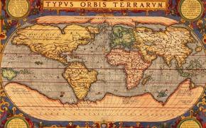 Картинка мир, рисунок, карта, материки, typus orbis terrarum