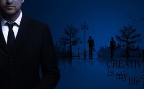 Картинка синий, город, вектор, мужчина, пиджак, Креатив