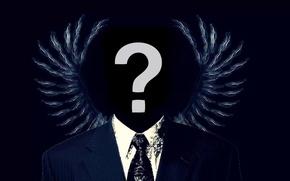 Картинка крылья, Hacker, anonymous, хакер, вопросителный знак, asa, анонимусы