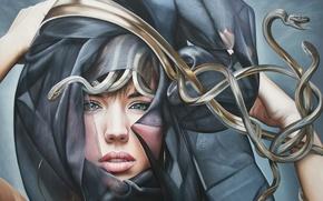 Картинка змеи, девушка, платок, Медуза Горгона