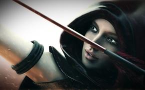 Картинка девушка, лук, лучница, капюшон, стрела