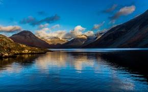 Картинка небо, облака, пейзаж, горы, озеро