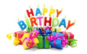 Картинка буквы, подарок, свечи, Happy Birthday, День Рождения