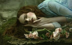 Картинка девушка, фантазия, арт, Agnieszka Lorek, Anna Gigante, Portrait of sadness