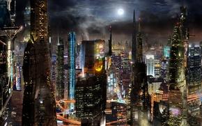 Обои мегаполис, футуризм, город, Scott Richard, будущее, здания, futurism, fantasy, megalopolis, City, skyscrapers, небоскрёбы, buildings, future, ...