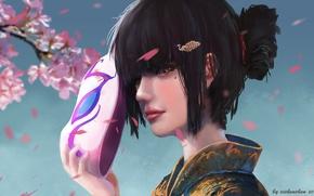 Картинка девушка, сакура, маска, by xichechen