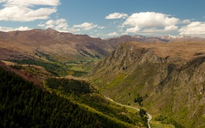 Картинка дорога, лес, облака, горы, Новая Зеландия, ущелье, Queenstown