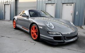 Картинка Porsche, wheels, grey, GT3, orange, wrap, gloss