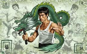 Картинка обои, мастер, Bruce Lee, Брюс Ли, великий, восточных единоборств, киноактёр