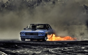 Картинка дорога, огонь, дым, Машина
