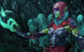Картинка лес, девушка, арт, повязка, призраки, души, скелеты, Dota 2, Death Prophet, Krobelus