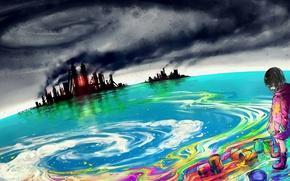 Картинка море, небо, краски, девочка, заводы, art, yuumei