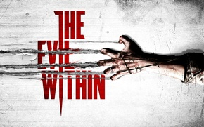 Обои blood, logo, wire, arm, Evil Within