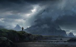 Картинка небо, облака, туман, гора, водопад, путешественник, мужчина, sky, clouds, mountain, fog, man, waterfall, солнечный свет, …