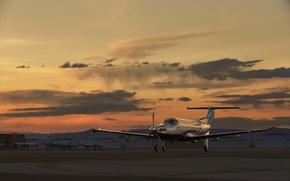 Картинка закат, самолет, аэродром, PILATUS, PC-12