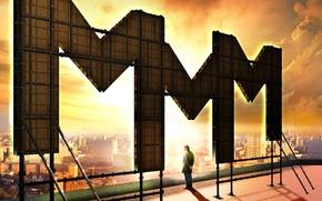 Обои МММ, логотип, город, Пирамммида