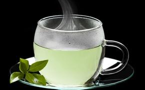Картинка чай, чашка, блюдце, листики