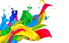 Обои капли, брызги, краска, colors, design, splash, paint, acrylic