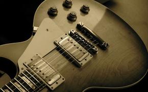 Обои фон, обои, сепия, музыкальный инструмент, музыка, фото, струны, корпус, гитара
