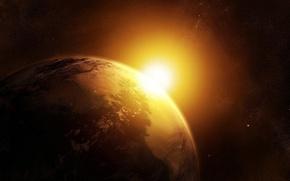Картинка солнце, земля, вселенная, звезда, планеты