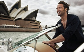 Картинка катер, сидней, актер, хью джекман, hugh jackman, actor, launch, sydney, сиднейский оперный театр, Sydney Opera …