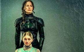 Картинка арт, Jennifer Lawrence, The Hunger Games, Katniss Everdeen, Сойка-пересмешница, Primrose Everdeen, Willow Shields, Sister portrait
