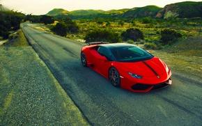 Картинка Lamborghini, Red, Front, Vorsteiner, Aero, Road, Verona, Rich, 2015, Huracan, LP640-4, Edizione