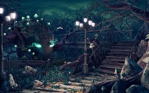 Картинка облака, свет, парк, фантастика, обои, грибы, dark, лестница, фонарь, ступени, the, park, oxeren, master