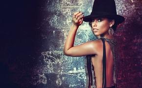 Картинка взгляд, шляпа, брюнетка, Alicia Keys
