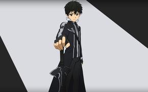 Картинка sword, game, weapon, anime, cross, boy, hero, asian, player, manga, japanese, Sword Art Online, Kirito, …