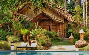 Картинка вода, деревья, дом, пальмы, бассейн