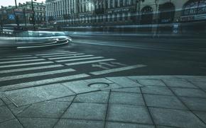 Картинка машины, движение, улица, вечер, Питер, Санкт-Петербург, Россия, Russia, спб, St. Petersburg, Невский проспект, spb