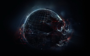 Картинка тьма, апокалипсис, череп, планета, черная дыра, космический