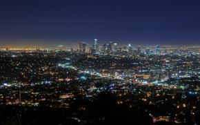 Картинка ночь, огни, california, калифорния, night, usa, los angeles, downtown, southern california