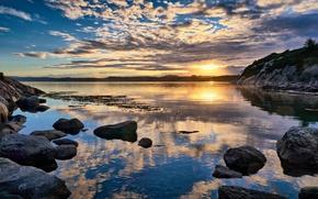 Картинка восход, камни, берег, Норвегия, Norway, Rogaland, Førdesfjorden