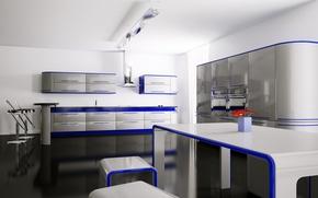 Обои цветы, синий, стол, комната, стулья, интерьер, кухня, квартира, полки, шкафчики
