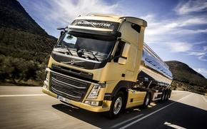 Картинка движение, скорость, трасса, Volvo, тягач, цистерна, FM410