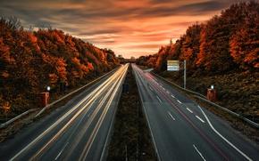 Картинка дорога, осень, огни