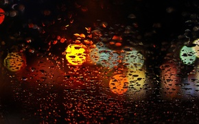 Картинка стекло, вода, капли, макро, огни, фон, дождь, widescreen, обои, размытие, окно, wallpaper, широкоформатные, background, боке, …
