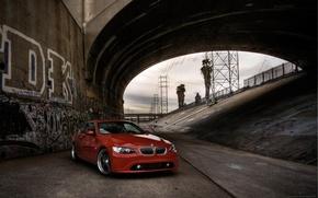 Обои красный, канал, мост, BMW, бмв