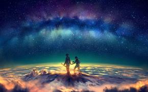 Картинка звезды, ночь, гора, северное сияние, пик, art, yuumei