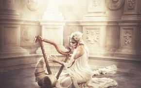 Картинка фантазия, Golden elf with arp in fantasy land, Sara Alamo, девушка эльф