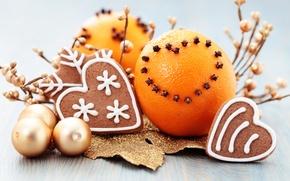 Картинка шарики, шары, еда, апельсины, Новый Год, печенье, Рождество, Christmas, золотые, гвоздика, выпечка, праздники, New Year, …