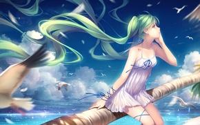 Картинка море, небо, девушка, облака, берег, чайки, аниме, арт, vocaloid, hatsune miku, tidsean