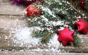 Картинка снег, стол, ёлка, новогодние игрушки