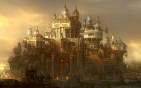 Картинка тучи, город, дома, арт, рыцари