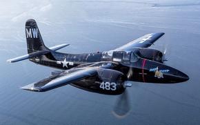 Картинка полет, истребитель, Tigercat, F7F